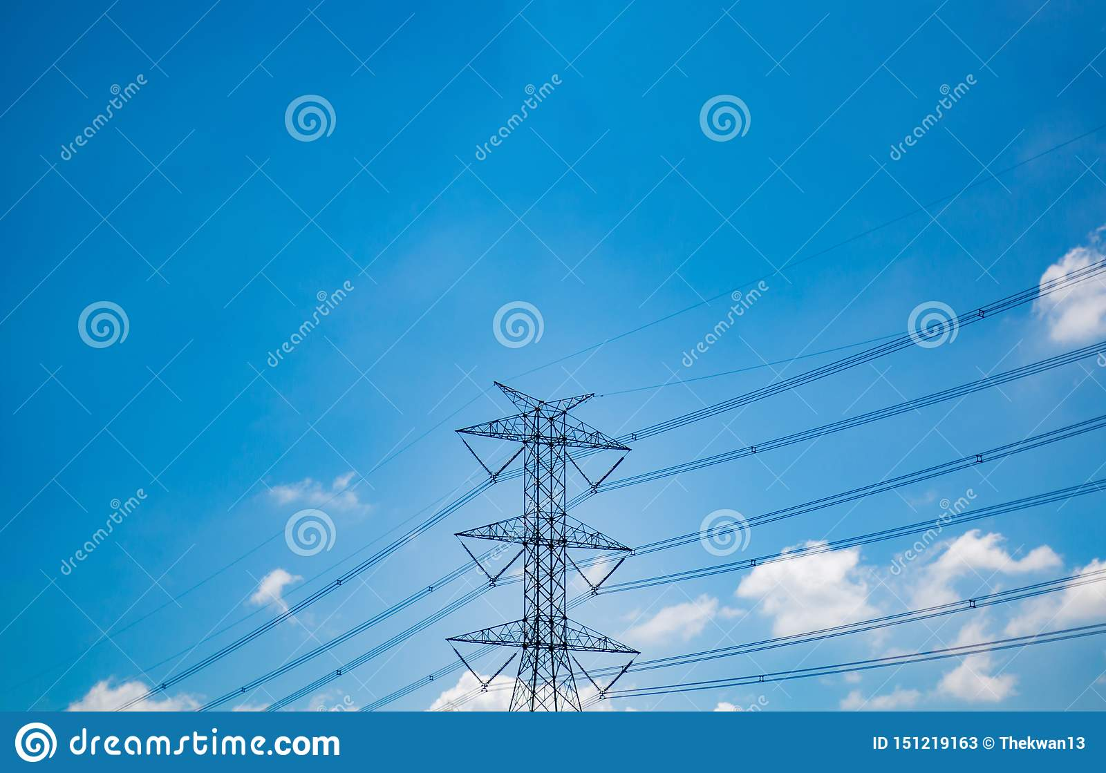 High voltage electric pole on sky background