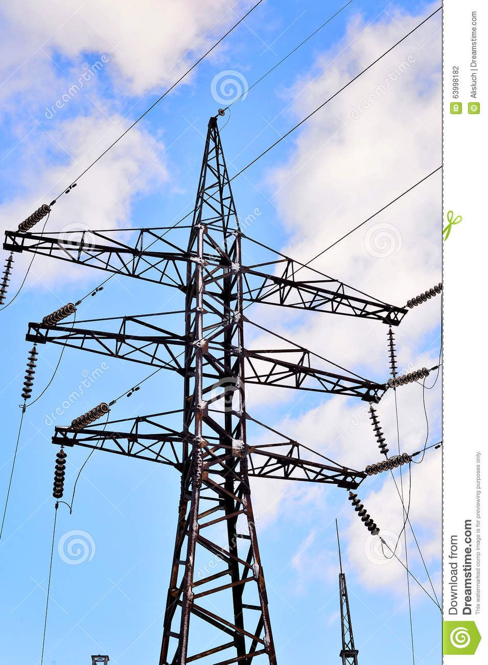 High Voltage Electrical Wire : High voltage electric pole with wires stock photo image