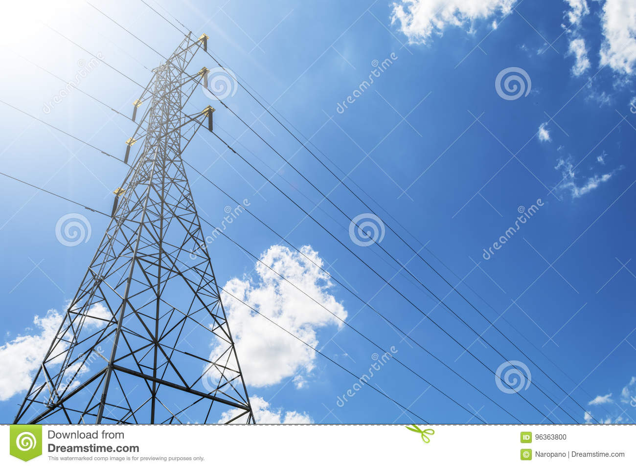 High Voltage Electric Transmission Tower Energy Pylon against th
