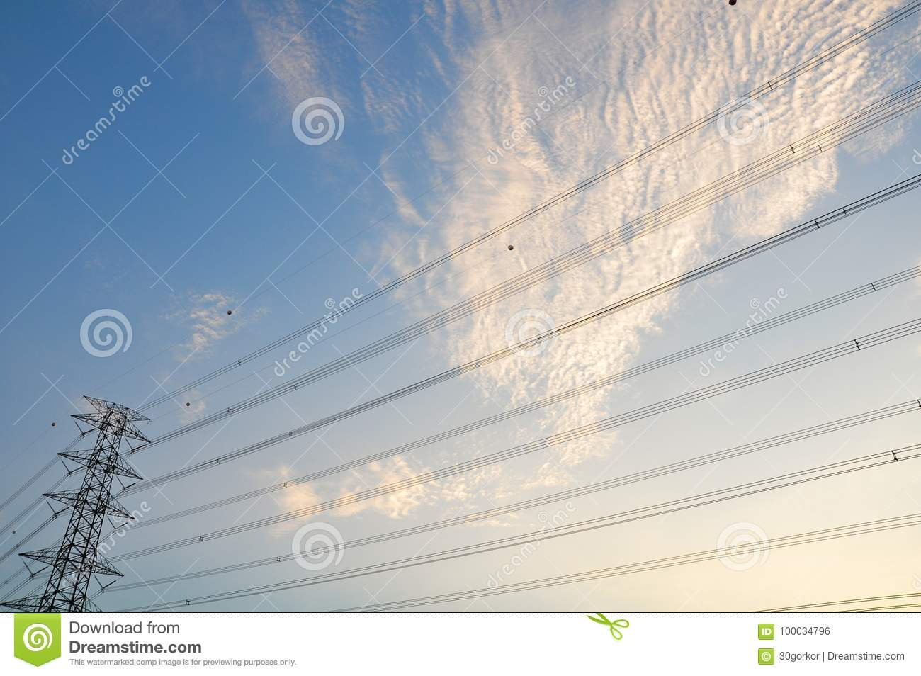 High Voltage Electrical Post With Blue Sky And Cloud Stock Photo ...