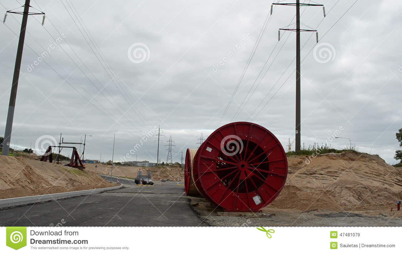 High Voltage Electricity Cable Reels Wire Road Construction Cars ...