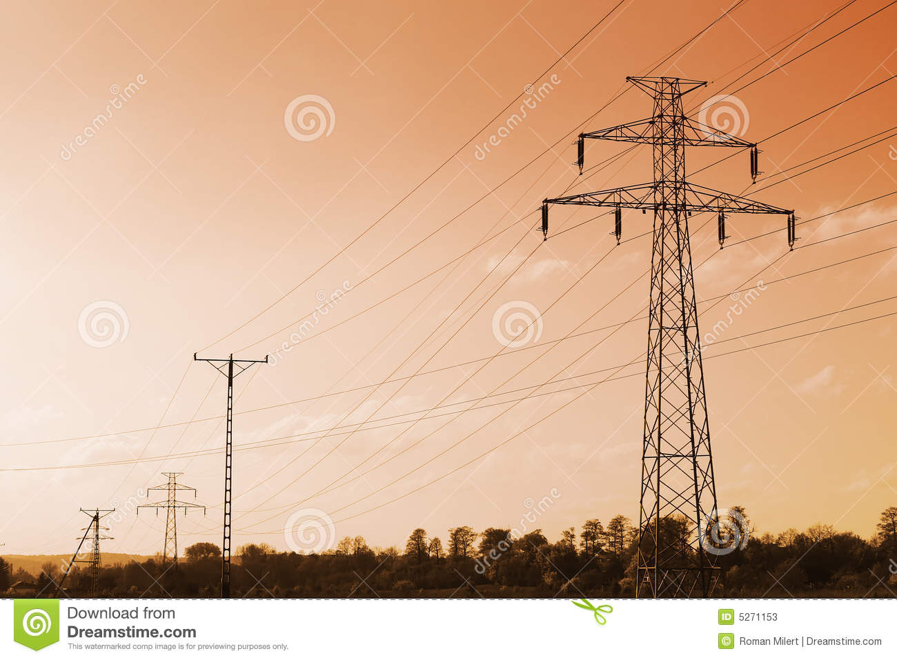 Sunset Over High-voltage Power Lines Stock Photography ...
