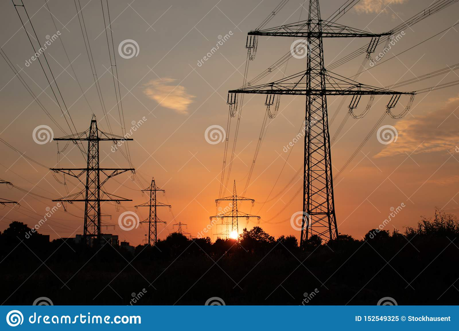 High voltage line, energy for people, at sunset