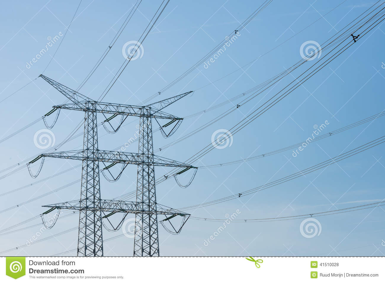 High Voltage Transmission Lines : High voltage power transmission lines and pylon stock