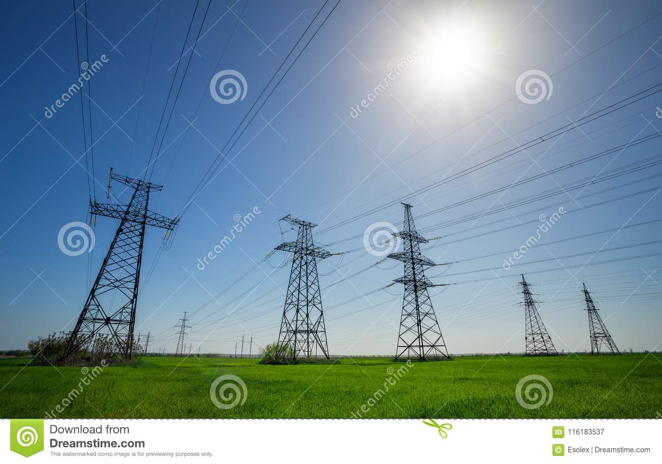 High voltage lines and power pylons