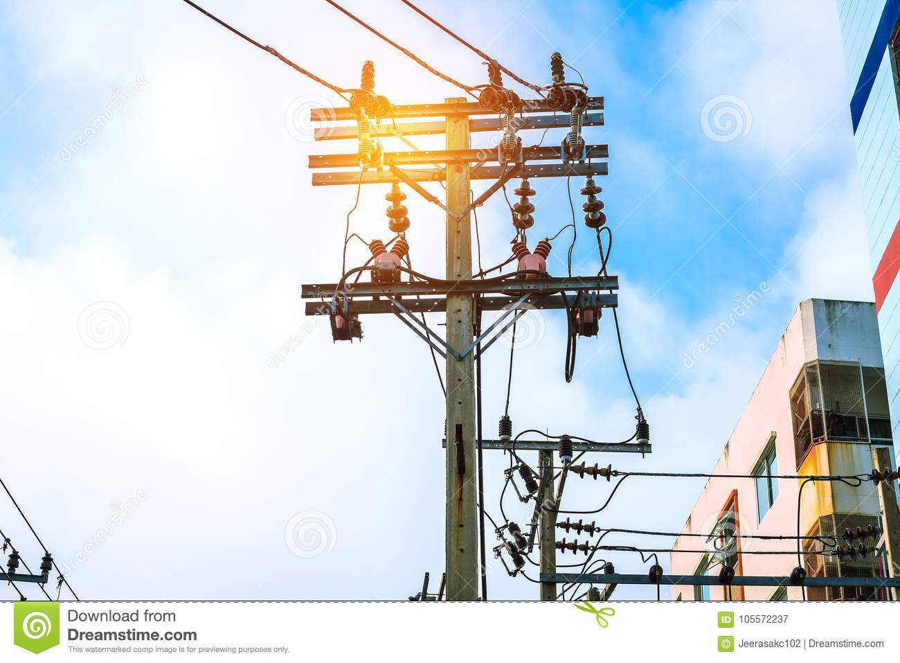 High voltage pole and electric power use on the city