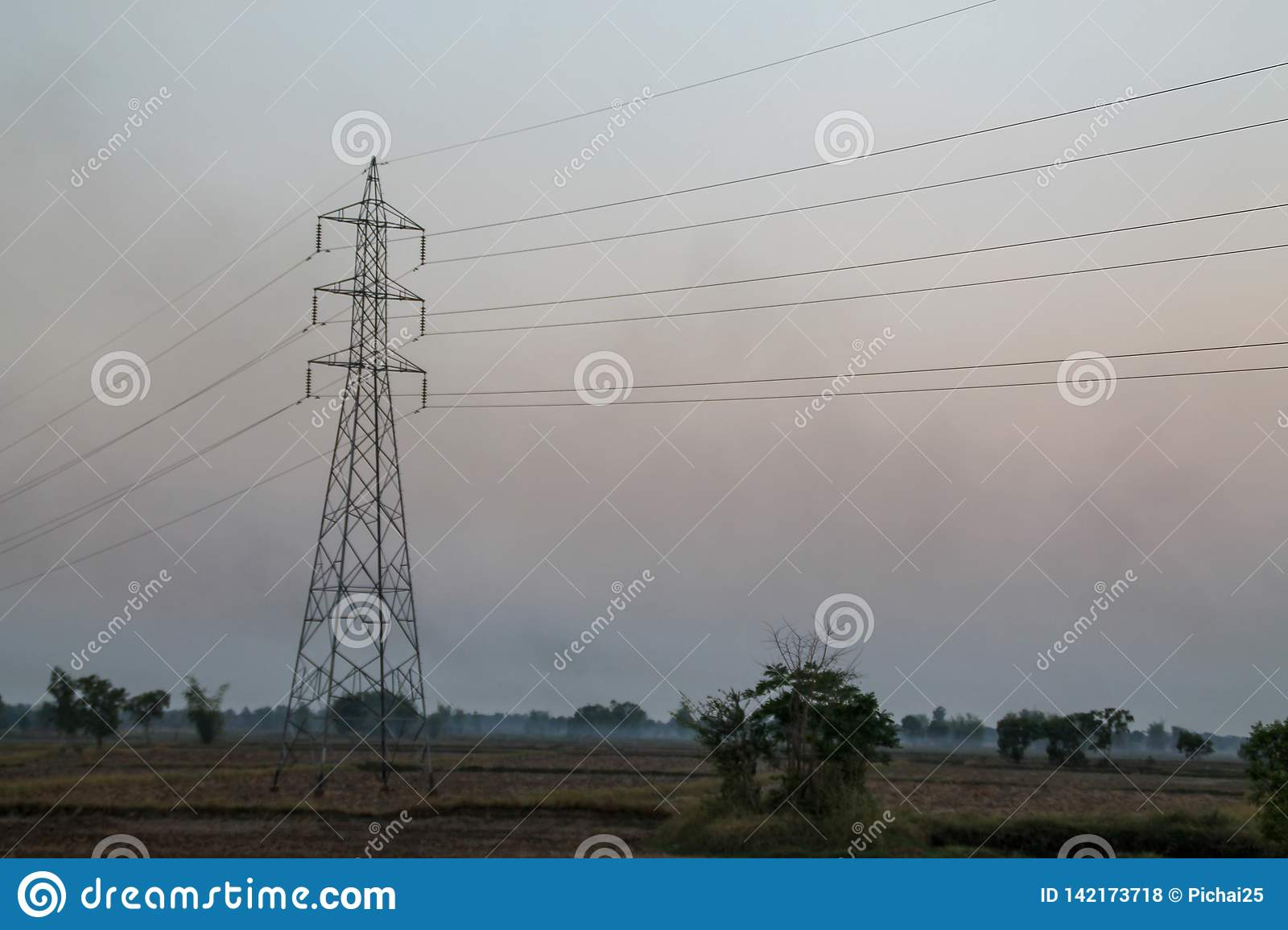 High voltage pole,High voltage tower with sky sunset background