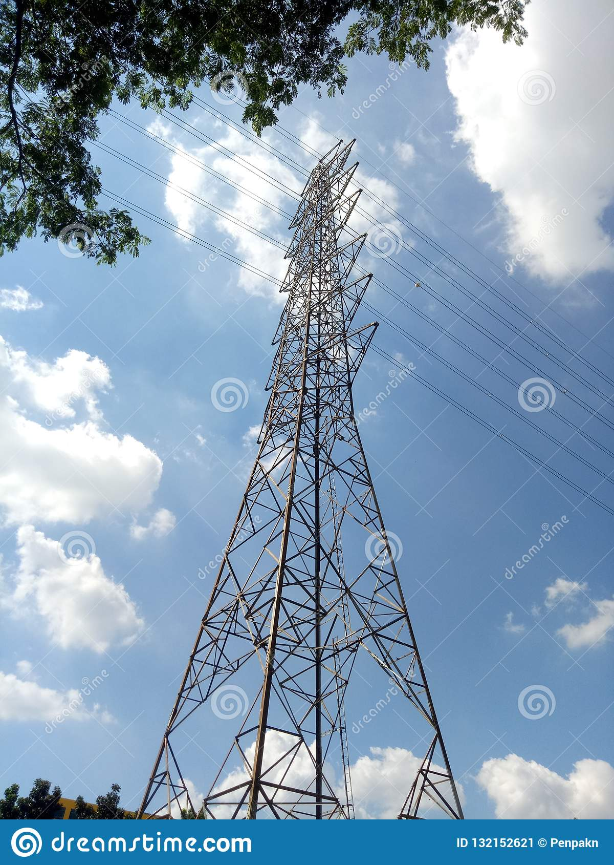 High Voltage Pole Post A Tall Metal Structure That Is Used