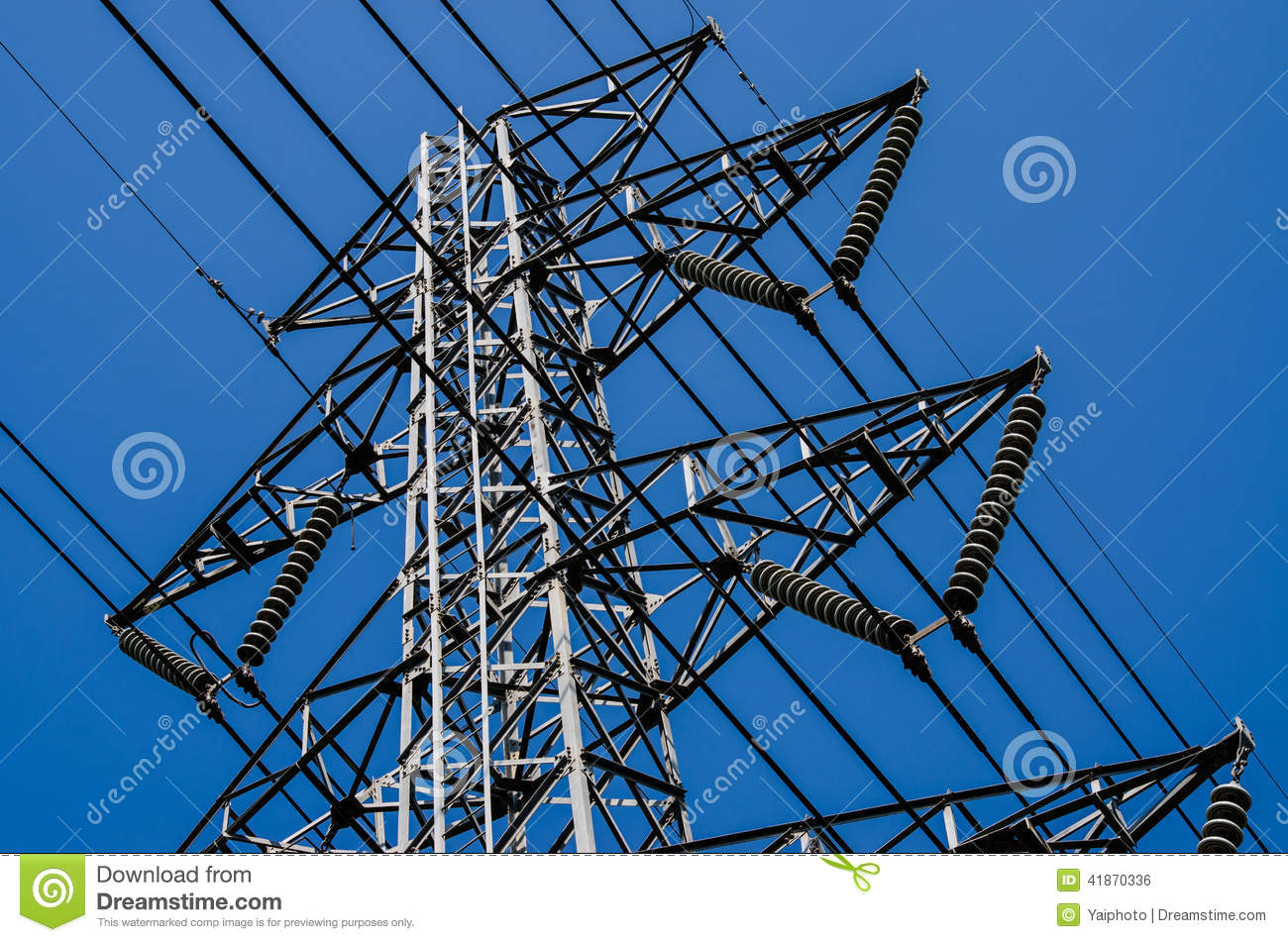 High Voltage Post High-voltage Tower Sky Background  Stock