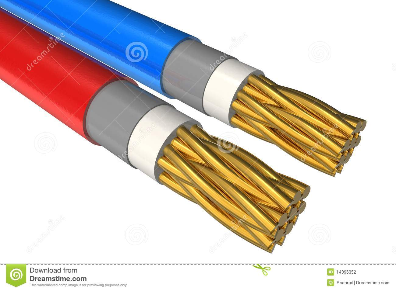 High Voltage Electrical Cable : High voltage power cable close up stock illustration