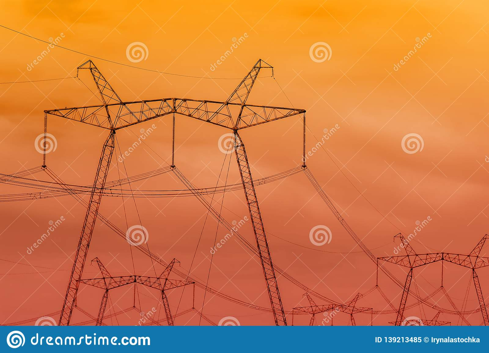 sky phone line wiring diagram high voltage power lines against the orange red sky stock image  high voltage power lines against the