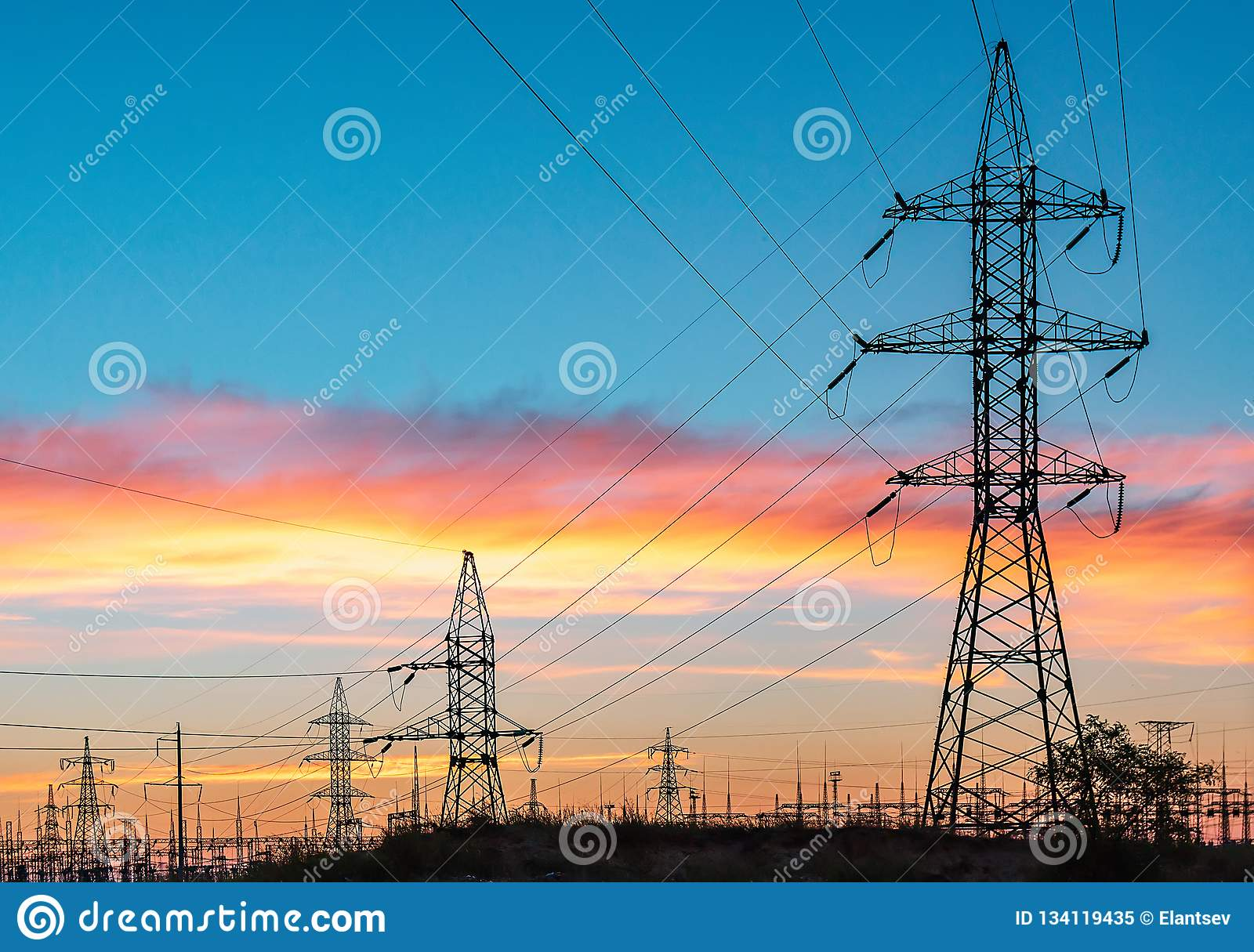 High-voltage power lines. Electricity distribution station. high voltage electric transmission tower. Distribution electric