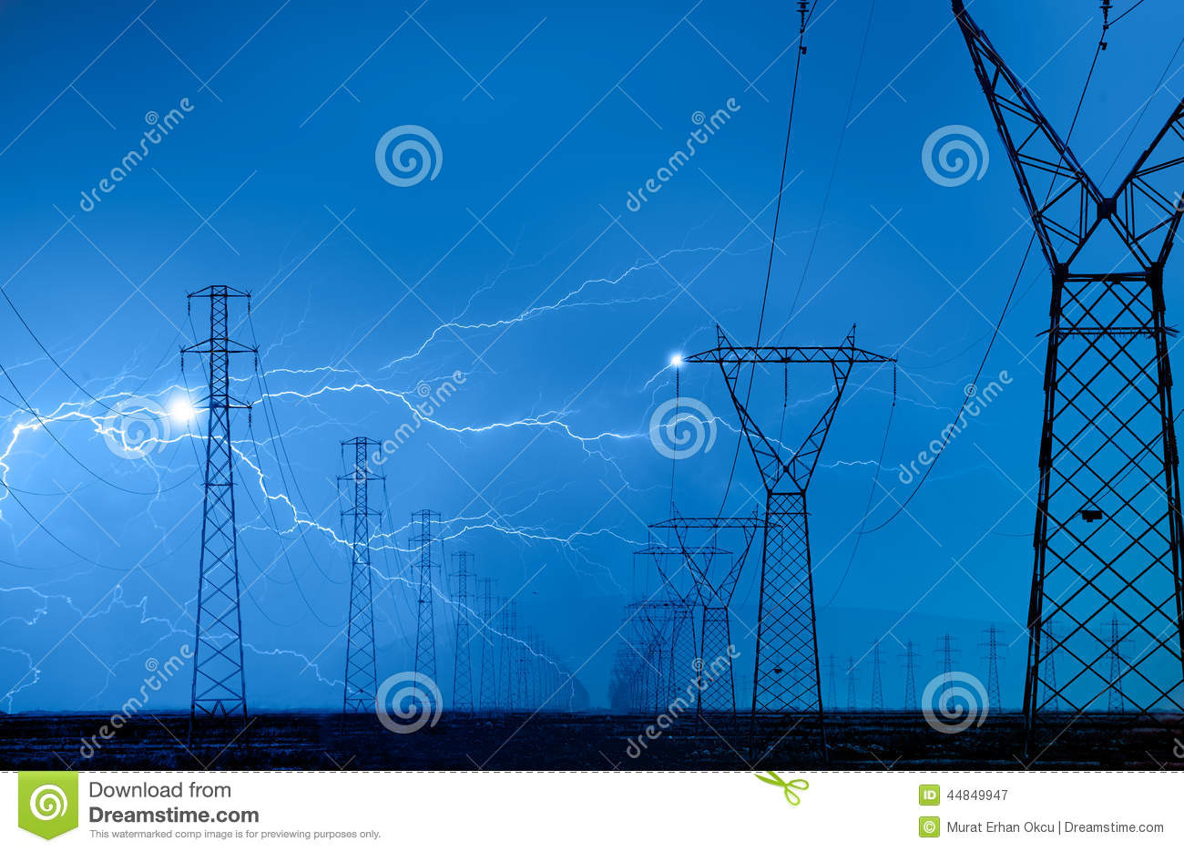 High Voltage Power Lines Stock Photo Image 44849947