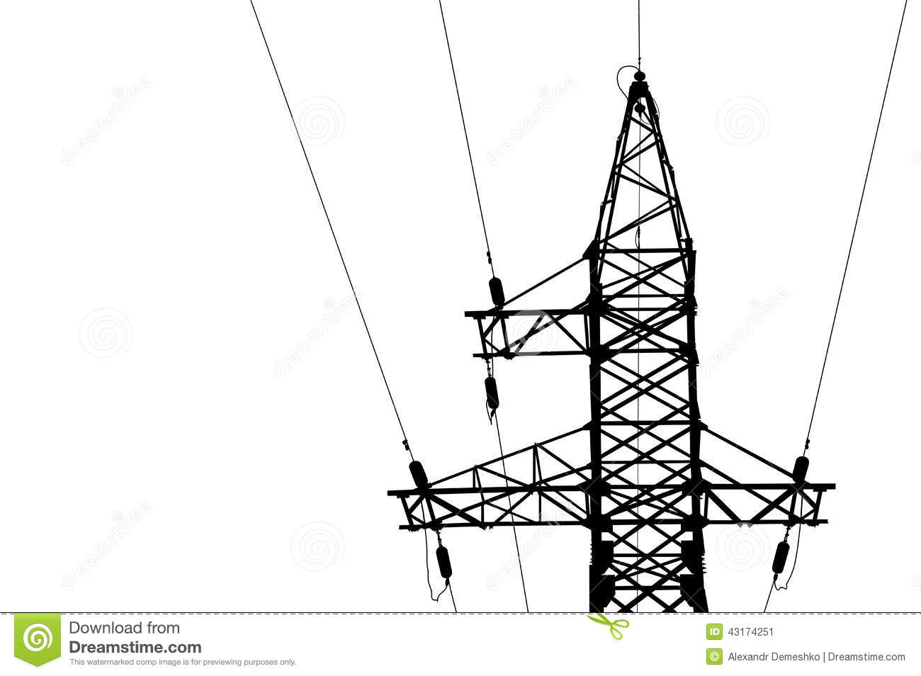 high voltage power lines and pylon stock vector image Car Amp Wiring Diagram Basic Car Audio Wiring Diagram