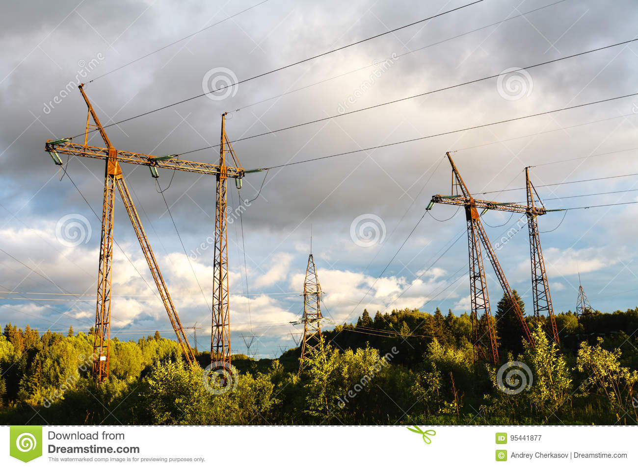 High-voltage power lines at sunset. electricity distribution sta