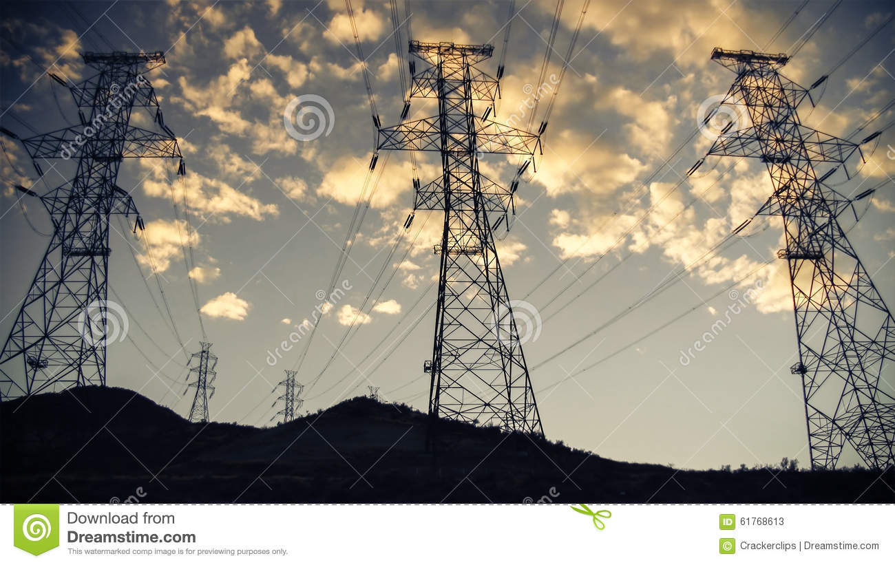 High Voltage Power Lines With Sunset Sky Background Stock ...