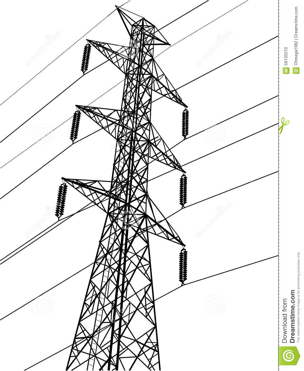 high voltage power pole vector line sketched up stock vector