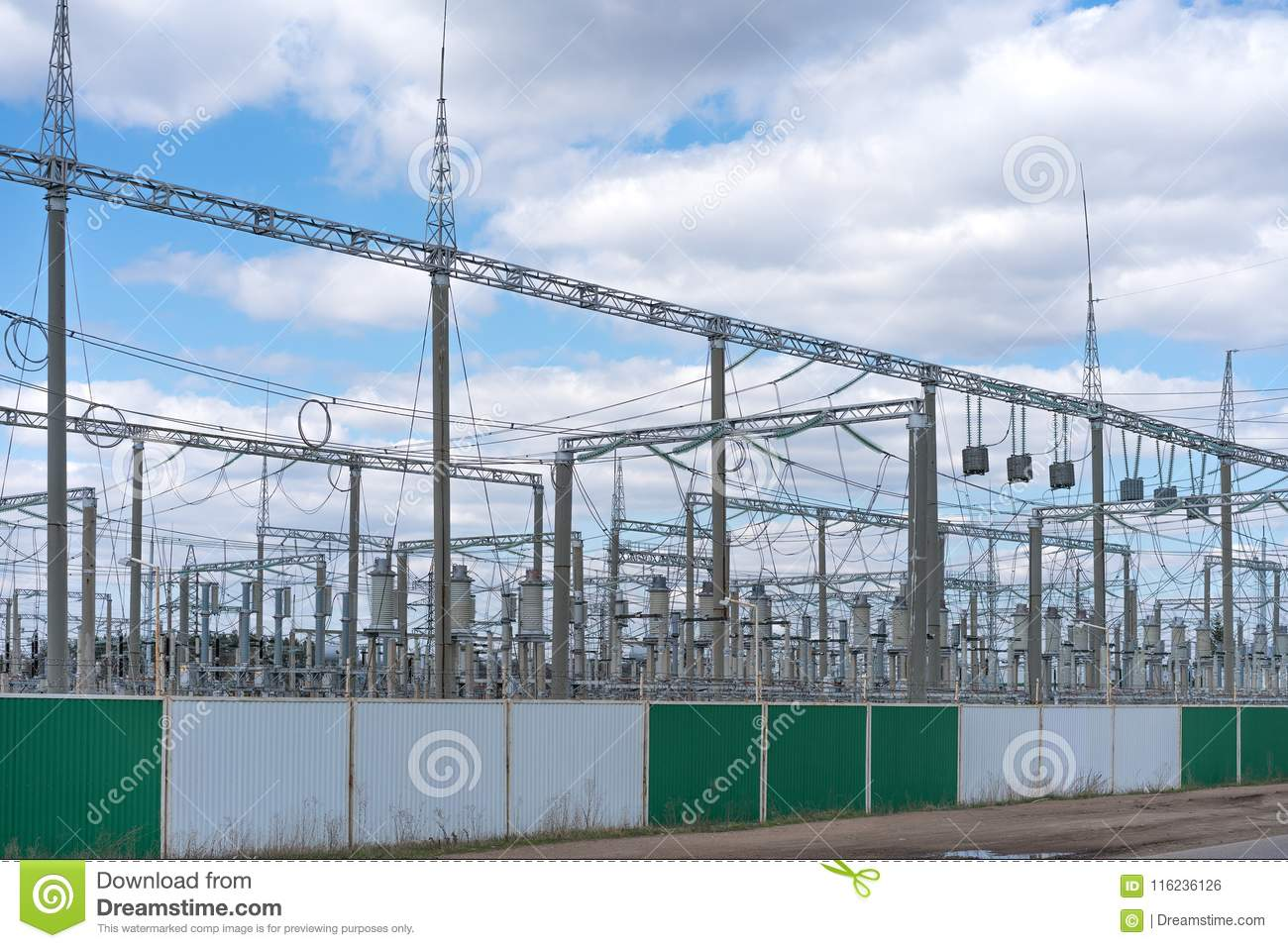 An electricity distribution station in a fenced area