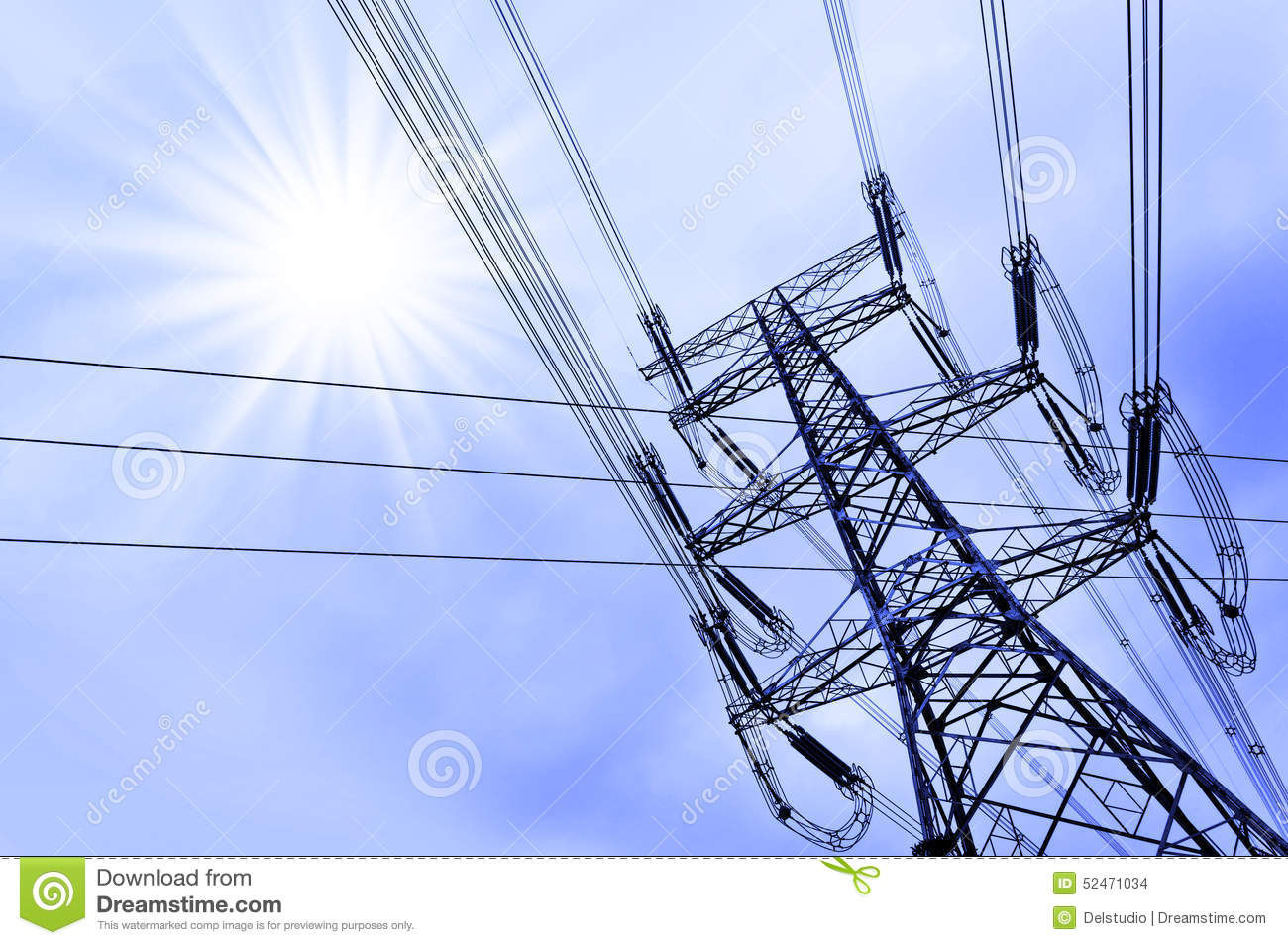 High voltage power tower pylon and line cables