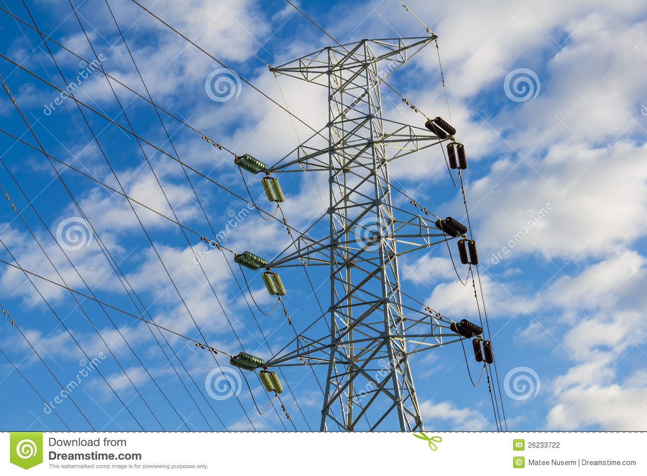 High Voltage Power Transmission Lines And Pylon Stock ...