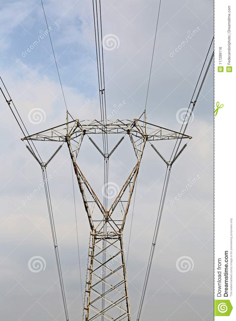 High Voltage Pylon With Electric Wires Stock Photo - Image of grid ...
