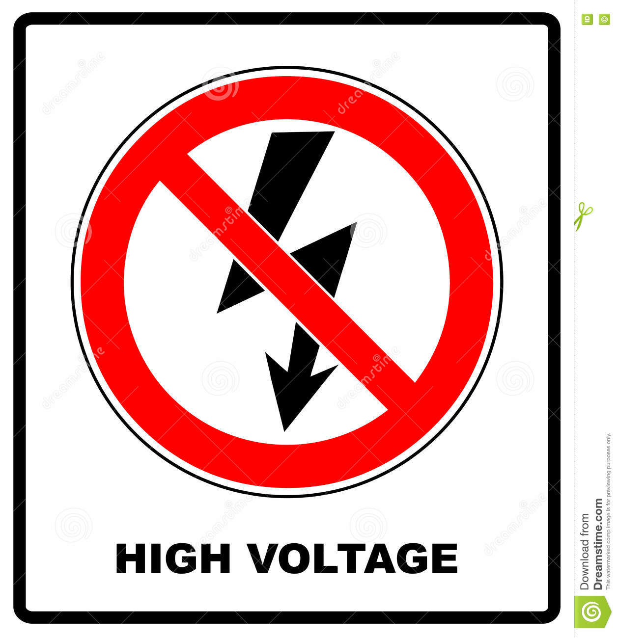 High Voltage Sign Danger Symbol Black Arrow Isolated In Yellow