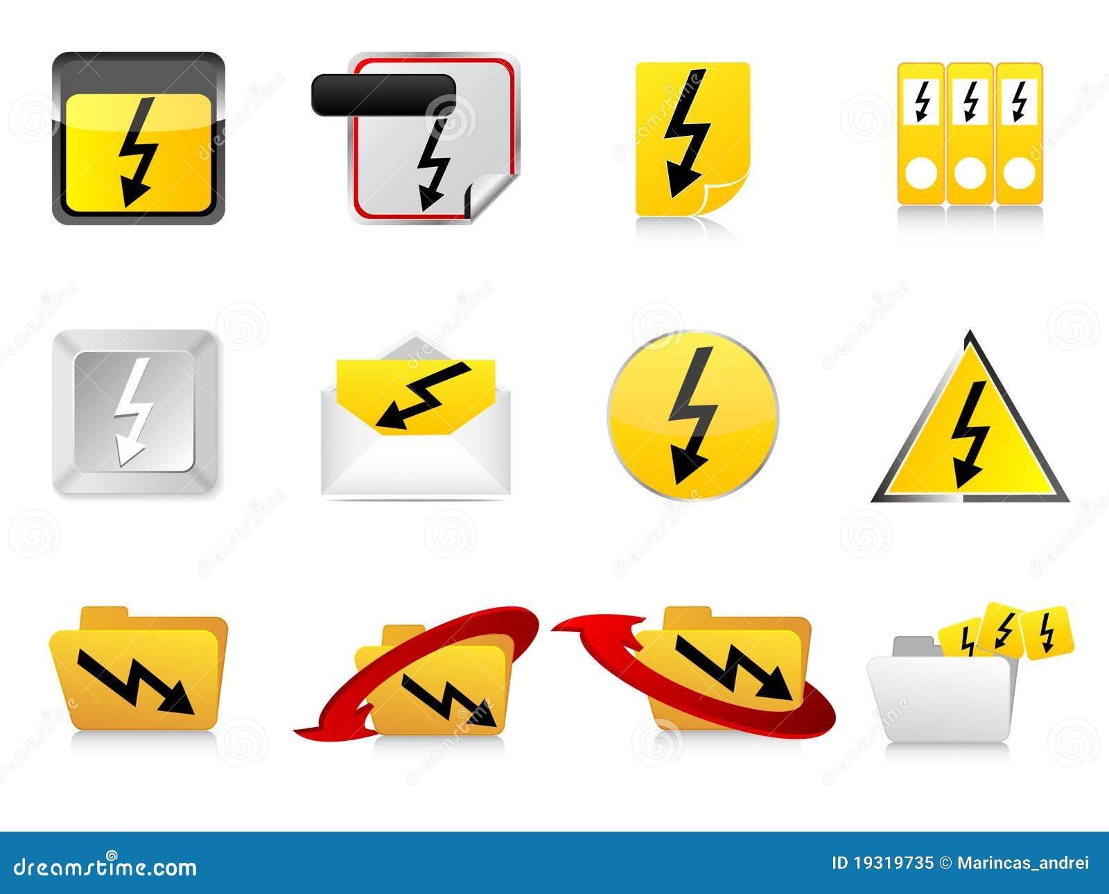 High voltage symbols stock vector. Illustration of electroshock ...