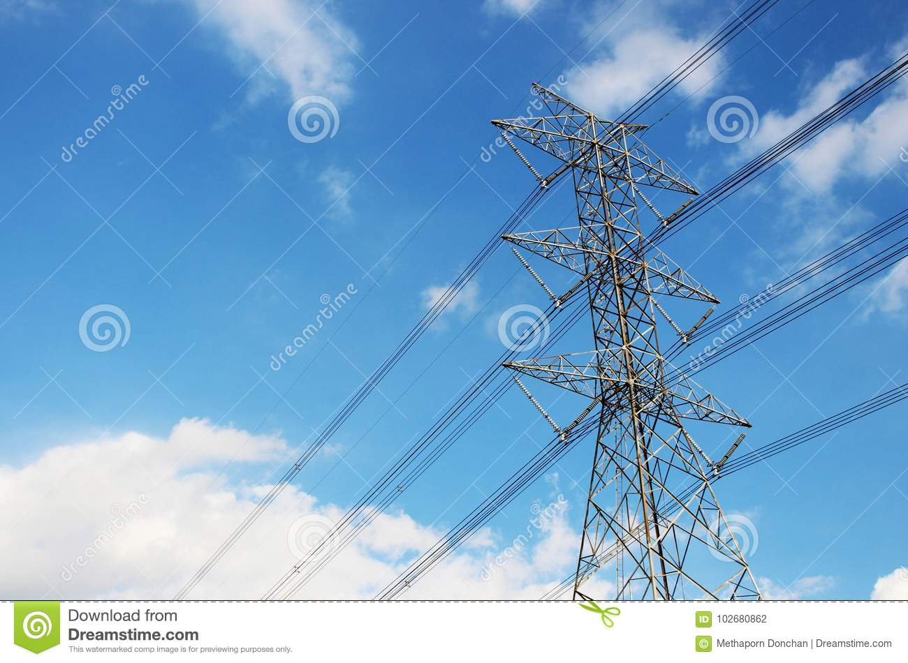 High Voltage Tower Or Electric Transmission Line With Blue Sky And White Cloud Stock Photo Image Of Generator Industry 102680862