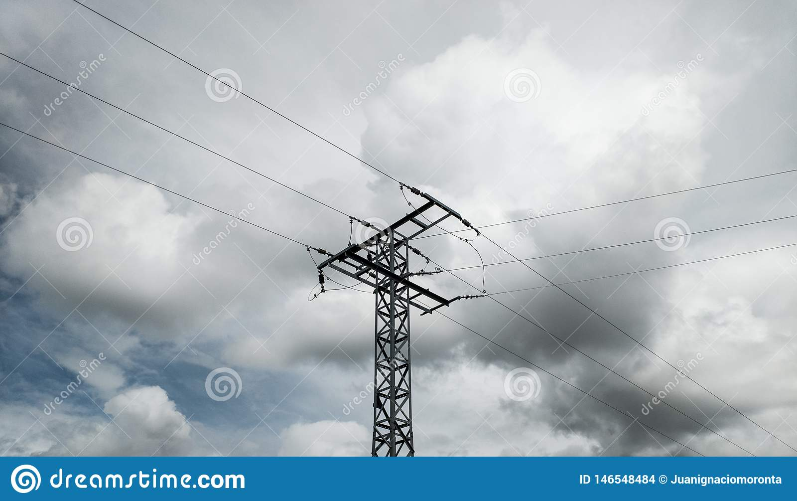 High-voltage tower in the middle