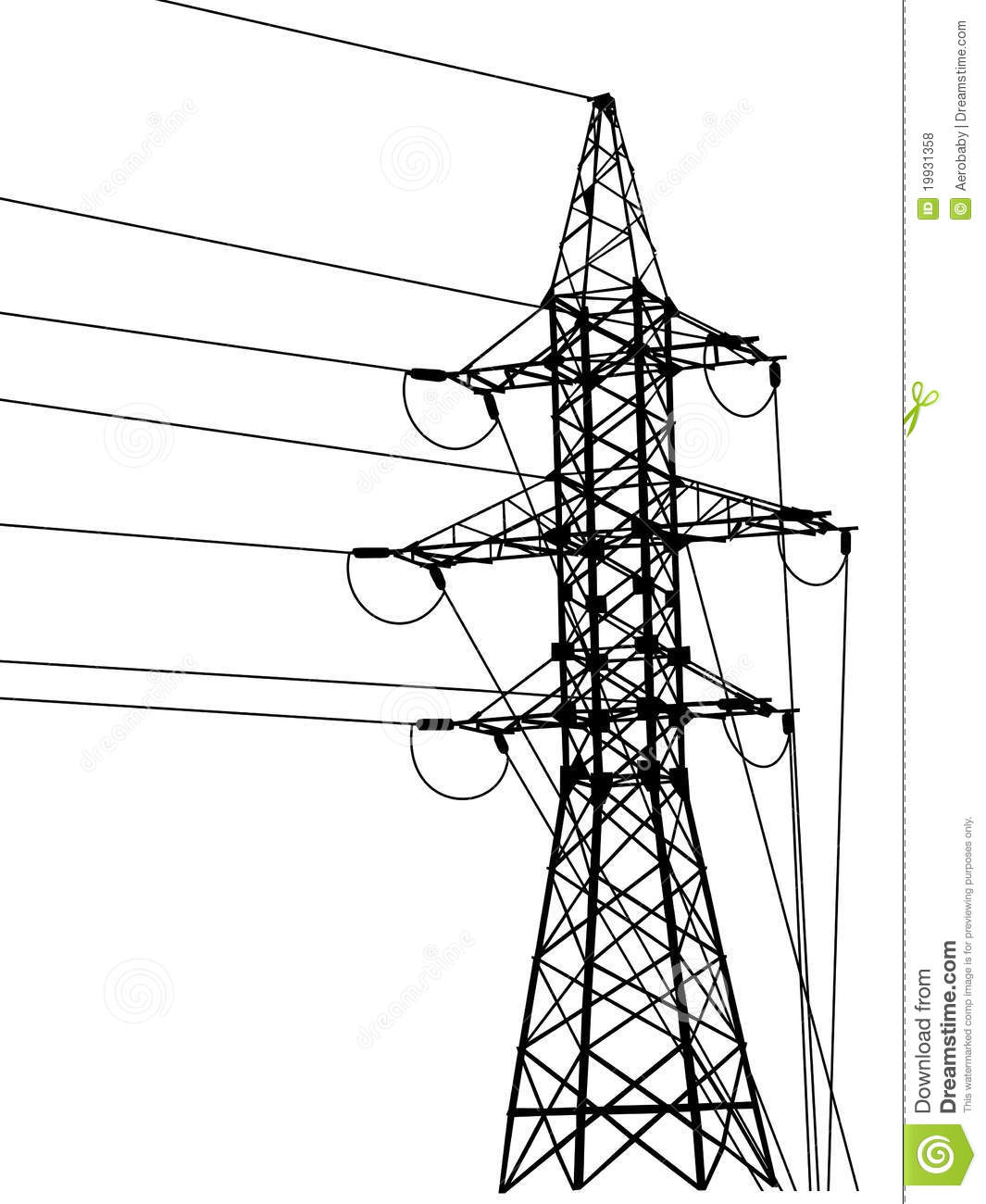high-voltage tower silhouette  stock vector