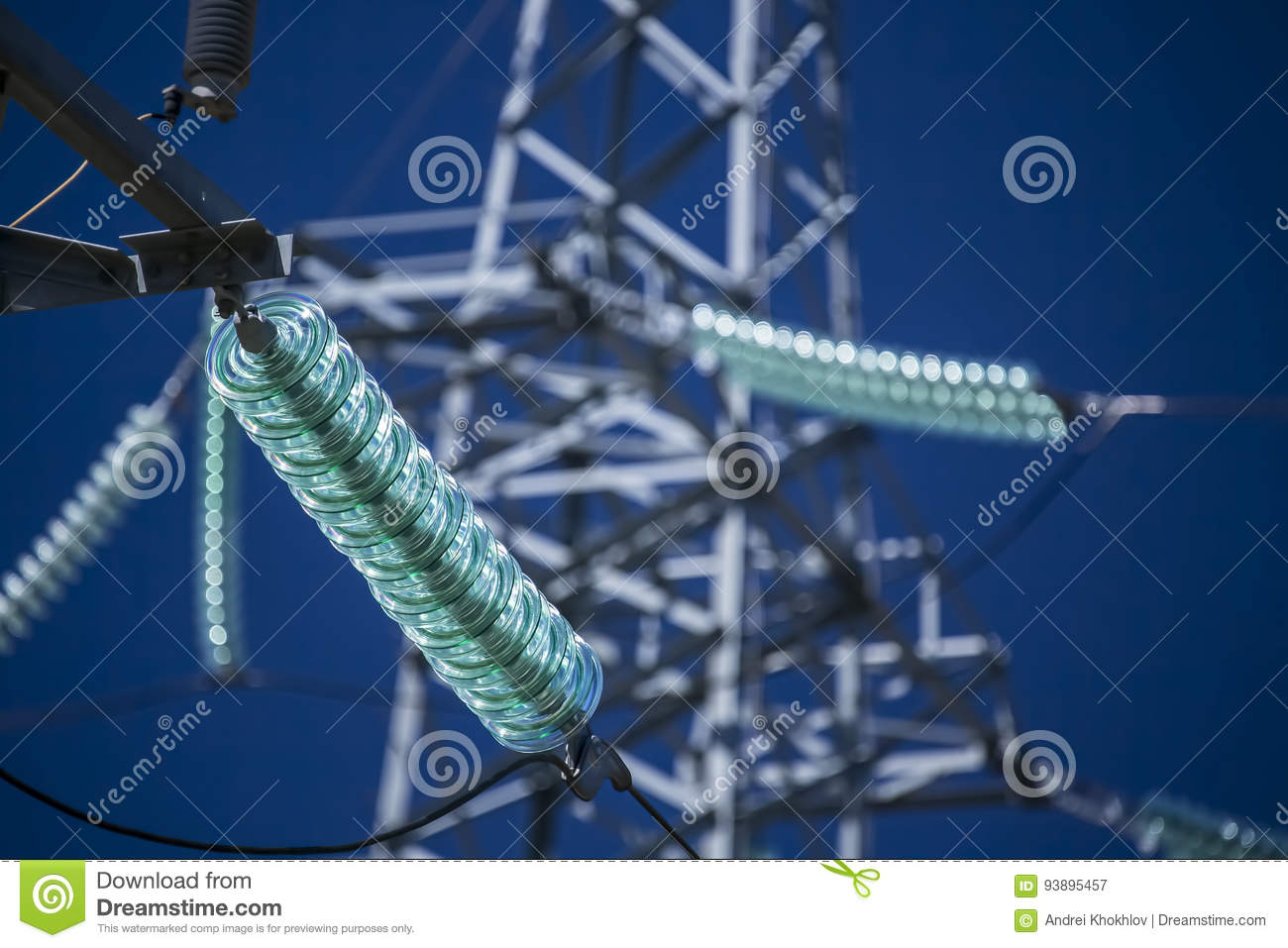 High voltage transmission power tower with glass insulators