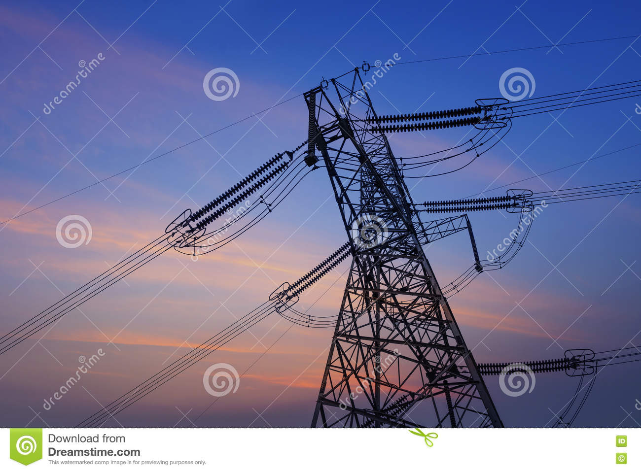 The high voltage transmission tower