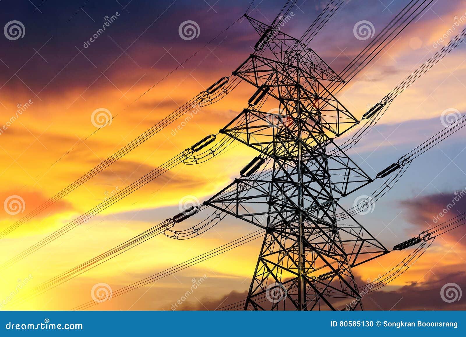 High voltage transmission tower.