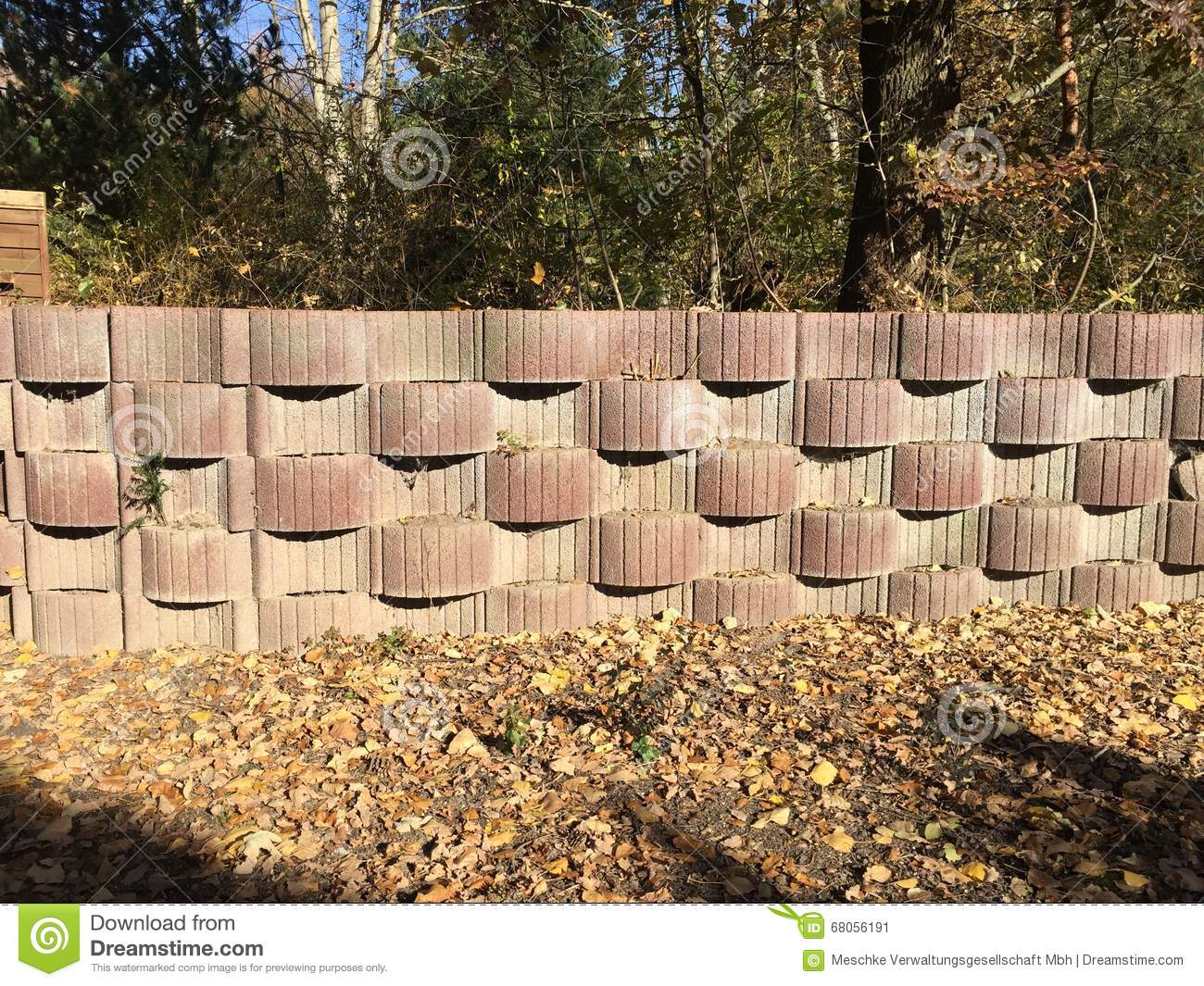 High Wall In A Garden, Planted With Herbs Stock Image - Image of ...