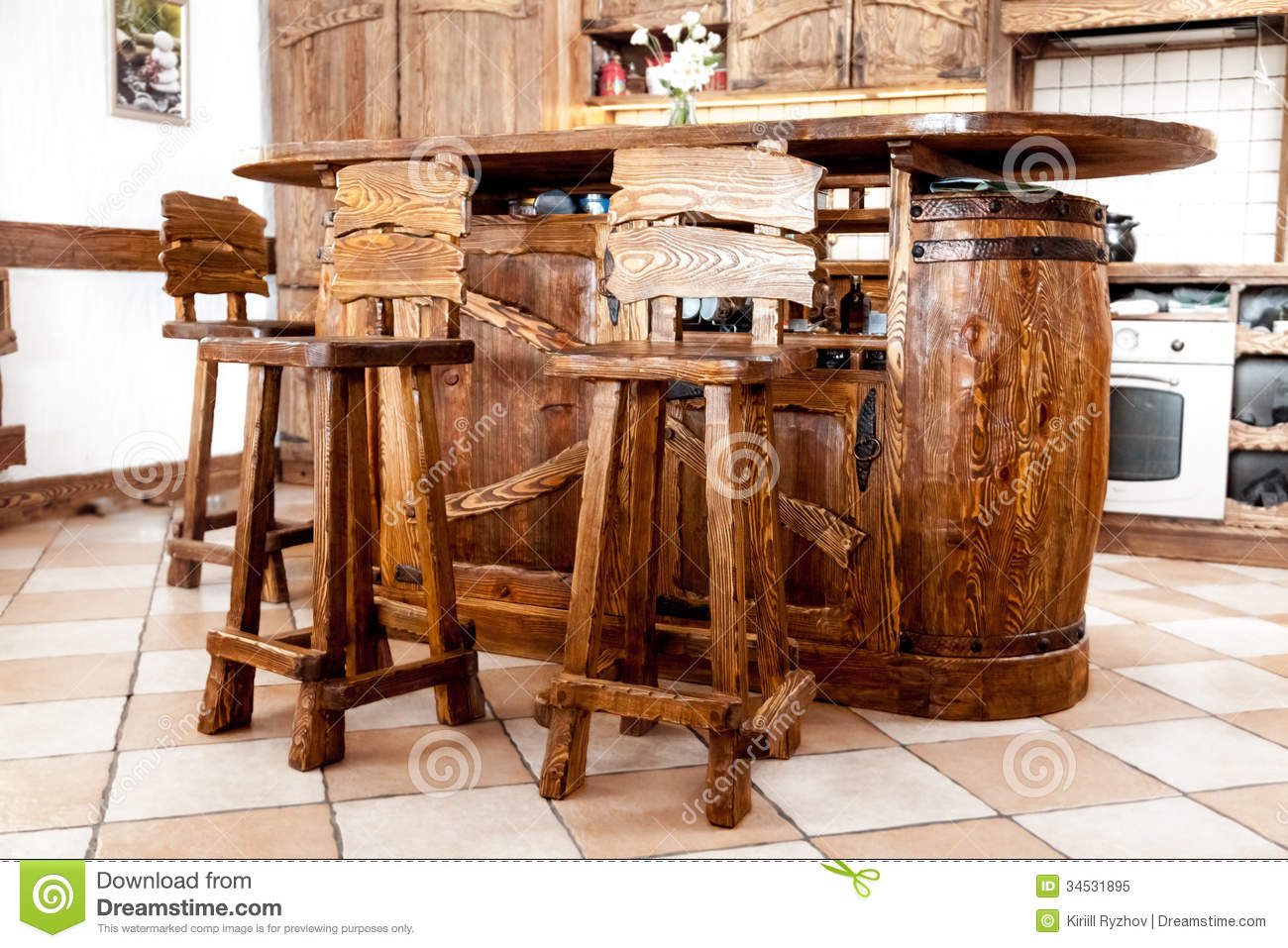 High Wooden Bar Chairs Standing Near Bar Desk Stock Image