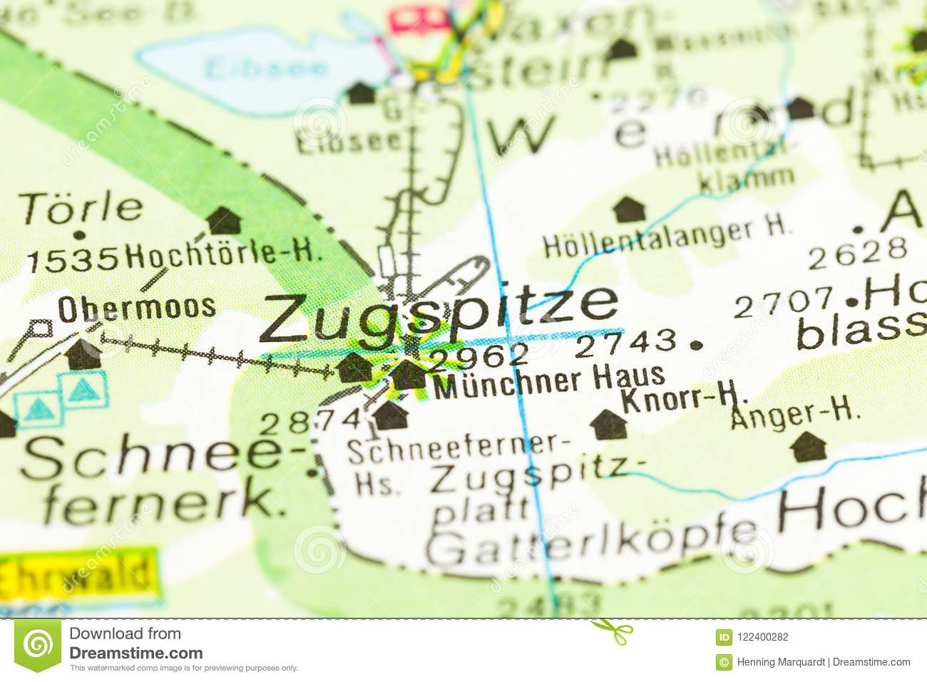Map Of Germany Bavaria.Highest Mountain In Germany On Map Zugspitze Bavaria Stock Photo