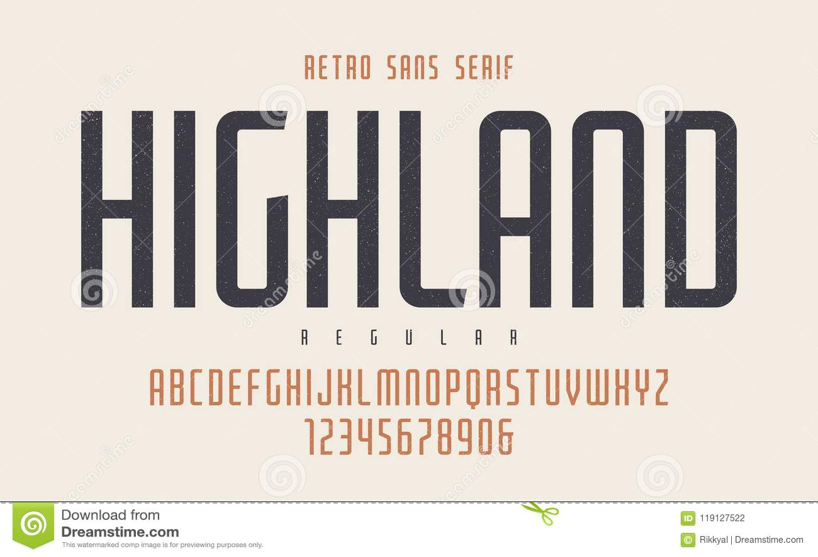 Highland Vector Condensed Regular Retro Typeface, Uppercase