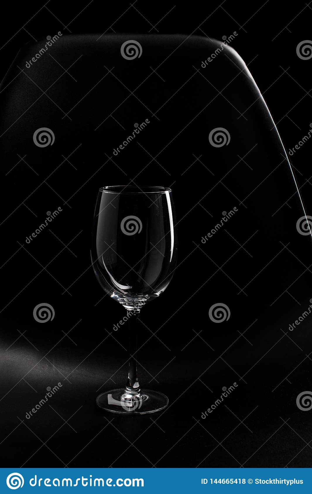 The Highlight of empty wine glass isolated