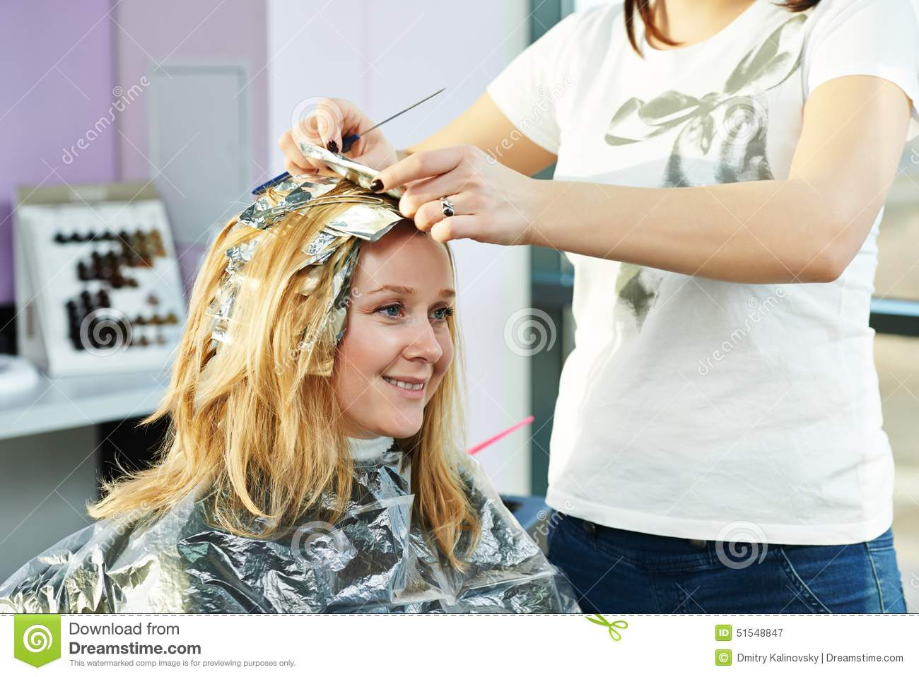 Highlight woman hairdressing in salon stock photo image for Photo salon