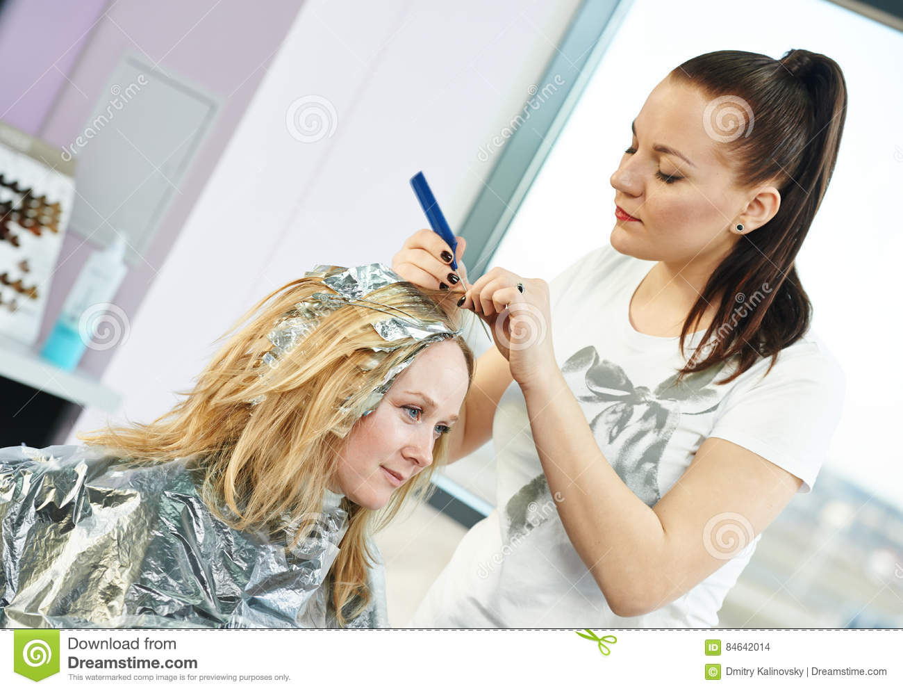 Highlight Woman Hairdressing In Salon Stock Photo Image Of