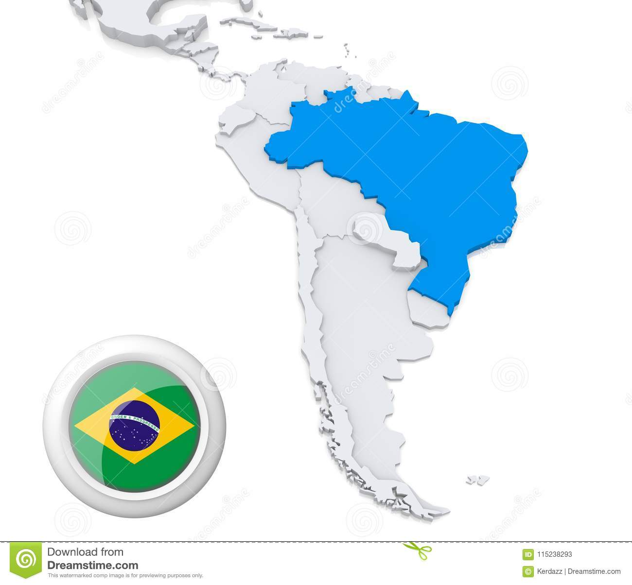 map of brazil in south america Brazil On A Map Of South America Stock Illustration Illustration map of brazil in south america