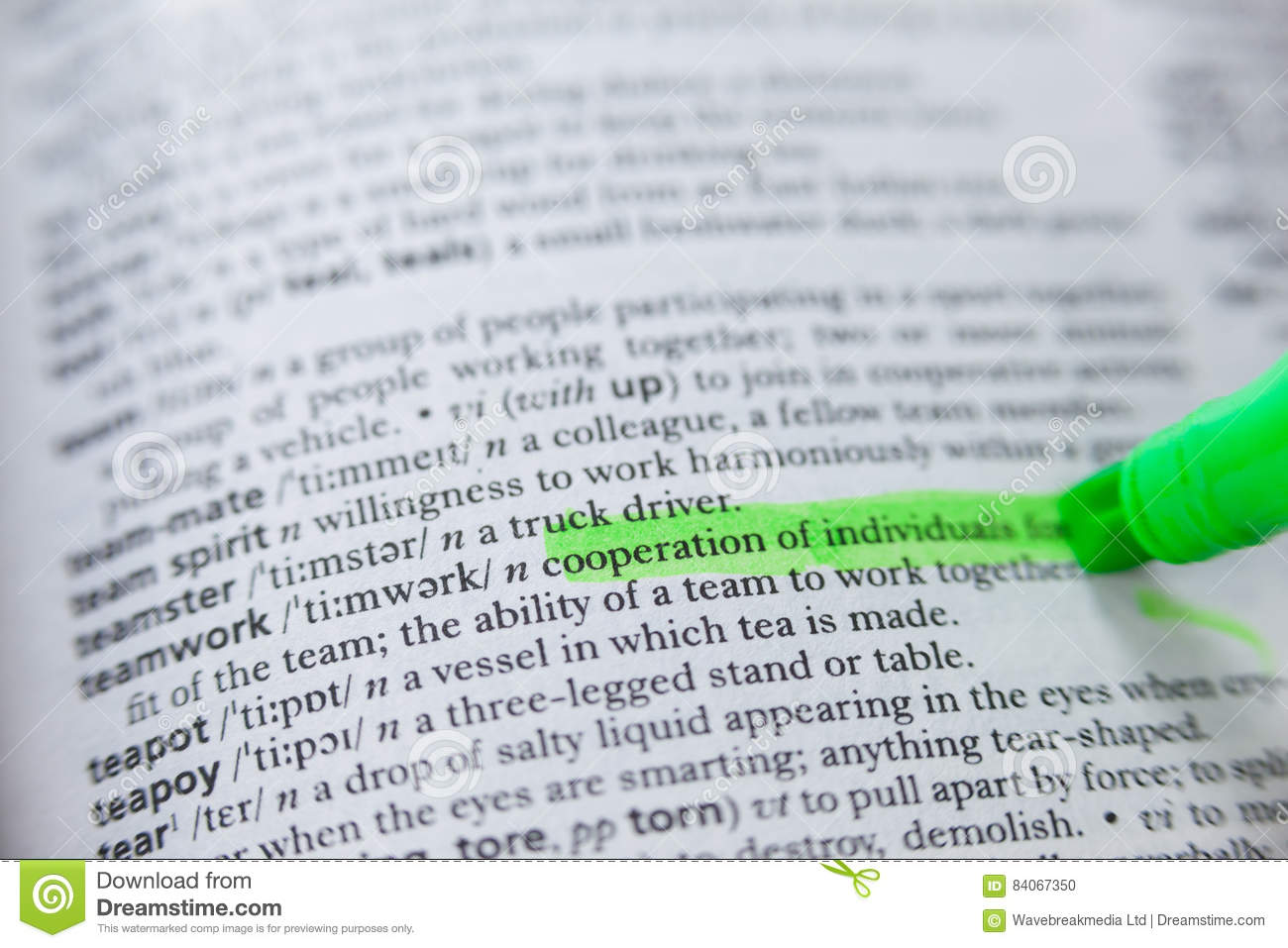 highlighted definition of teamwork in dictionary stock photo - image