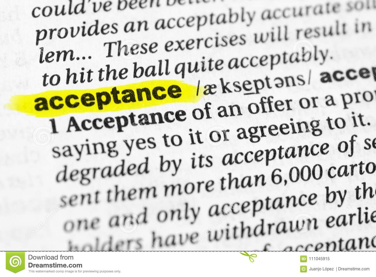 Highlighted English Word `acceptance` And Its Definition In