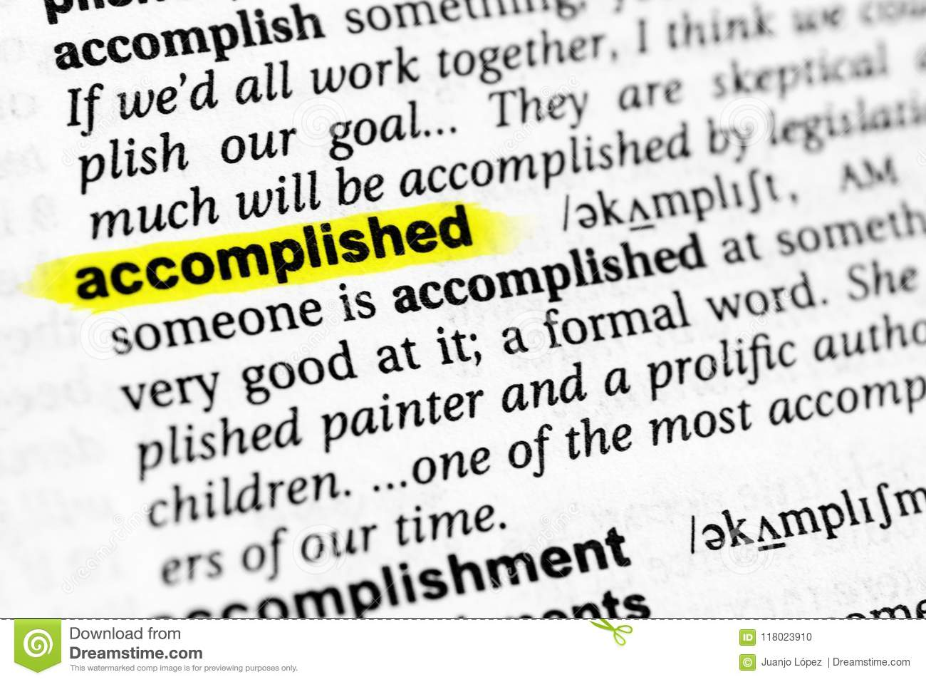 Highlighted English Word Accomplished And Its Definition In