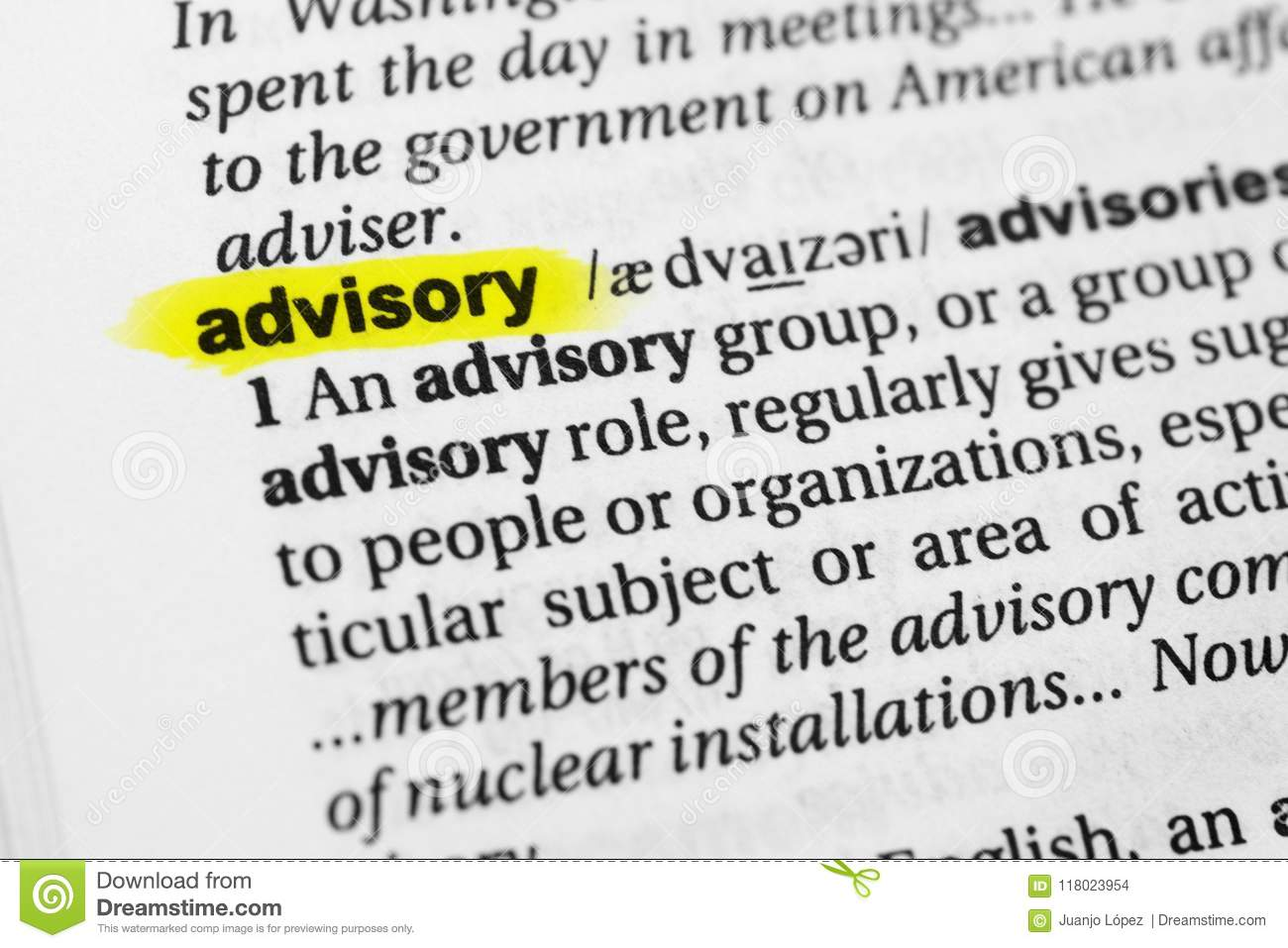 Highlighted English Word Advisory And Its Definition In The