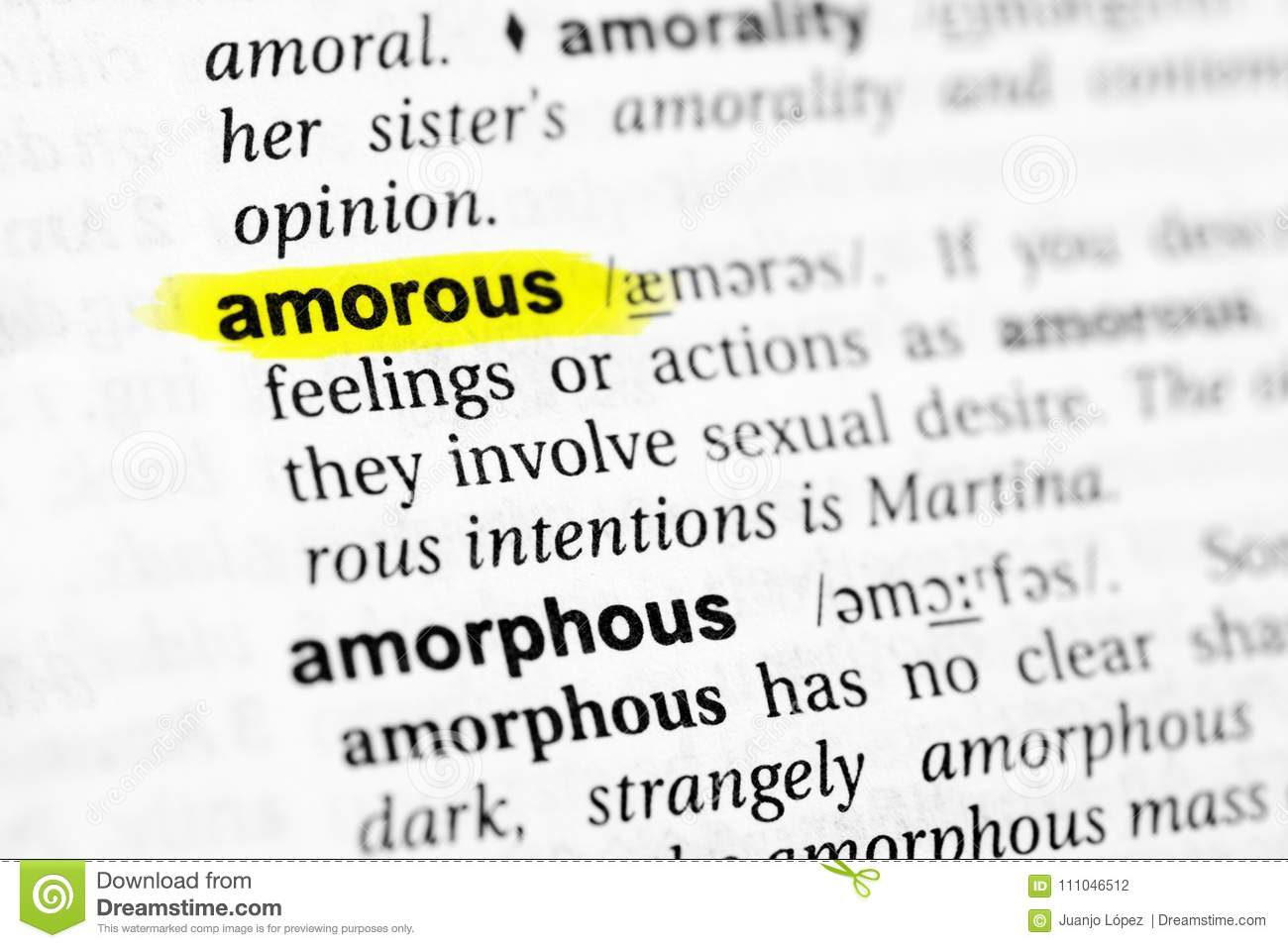 Amorous Pics highlighted english word `amorous` and its definition in the