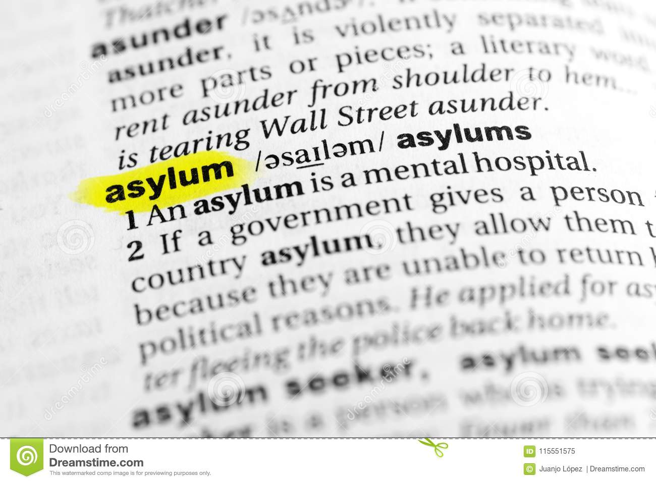 highlighted english word asylum and its definition in the dictionary