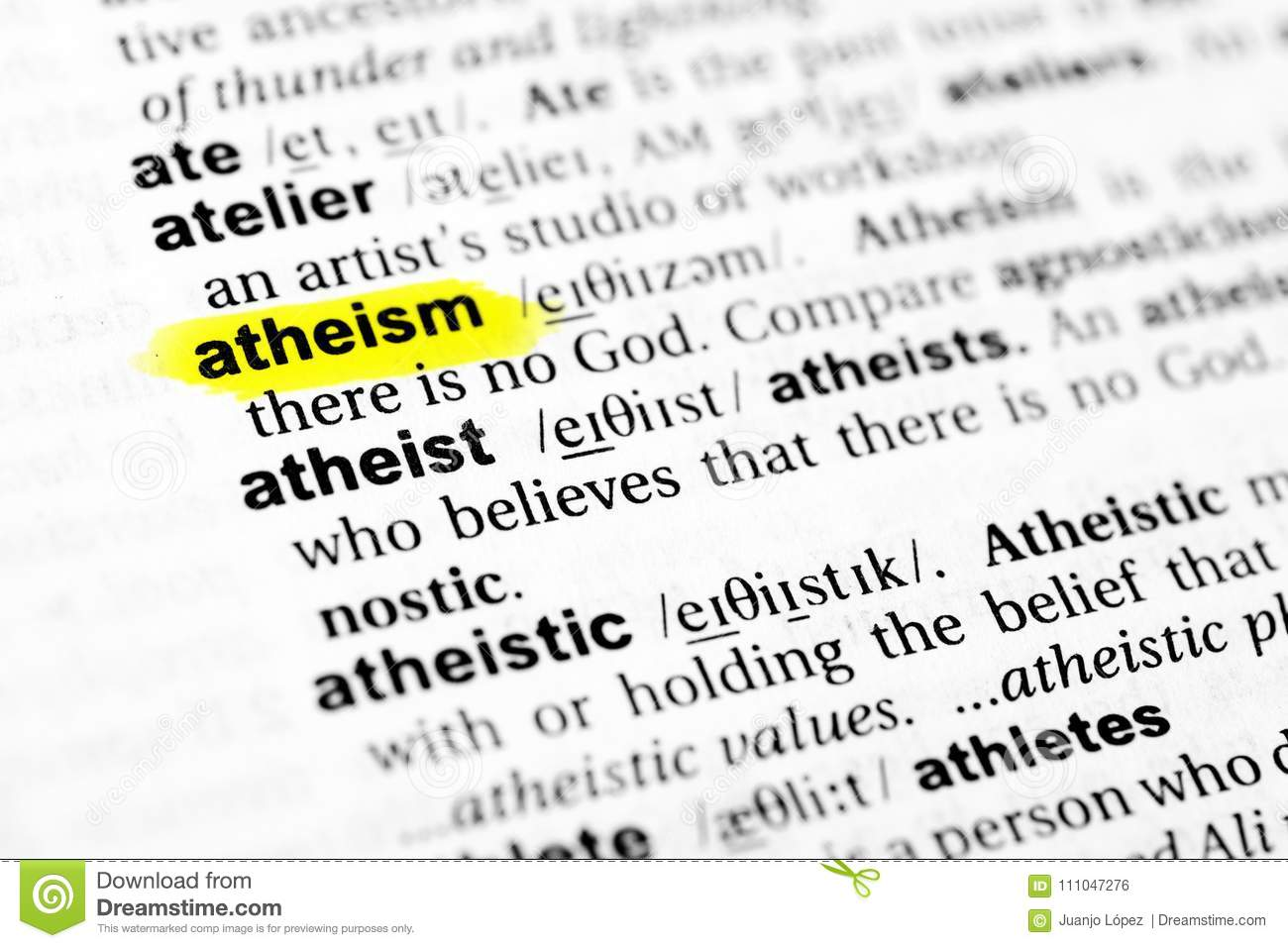 highlighted english word `atheism` and its definition in the