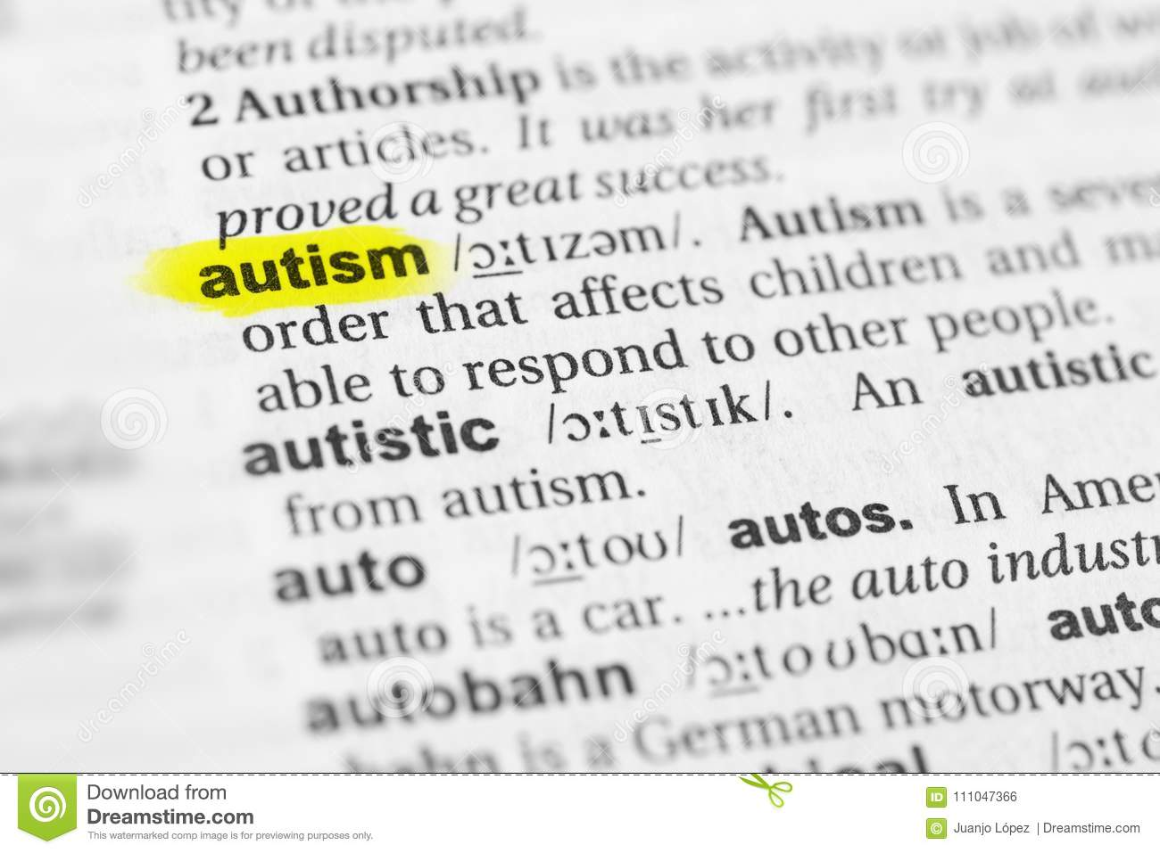highlighted english word `autism` and its definition in the