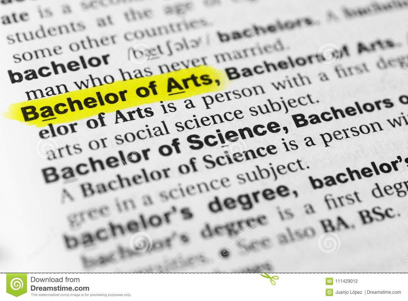highlighted english word `bachelor of arts` and its definition in